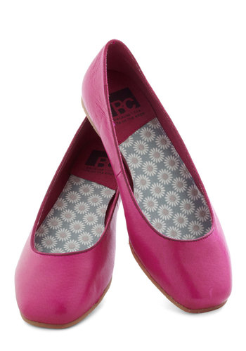 Mental Note Flat by BC Shoes - Pink, Solid, Flat, Leather, Work, Casual