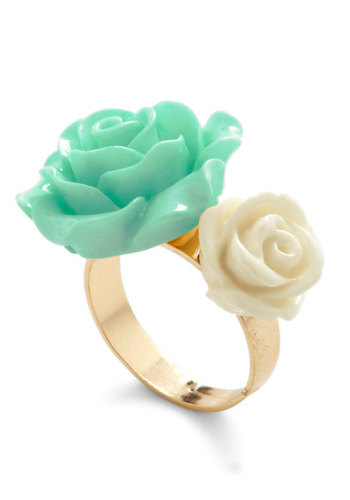 Retro Rosie Ring in Blossoms - Yellow, Solid, Flower, Mint, Fairytale, Pastel, Variation