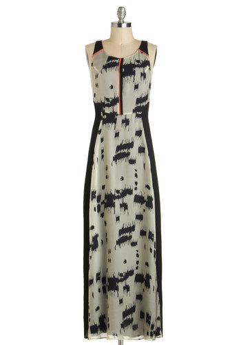 Lady Luxe Dress - Long, Tan / Cream, Black, Print, Party, Maxi, Tank top (2 thick straps), Luxe, Summer