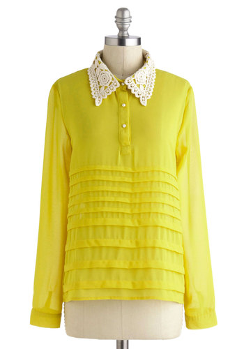 Quince Charming Top - Yellow, Lace, Long Sleeve, Collared, Mid-length, Work, Vintage Inspired, Daytime Party