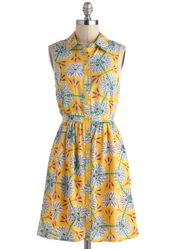 Lemonade Standout Dress - Yellow, Multi, Floral, Buttons, Casual, A-line, Sleeveless, Spring, Mid-length, Shirt Dress, 90s