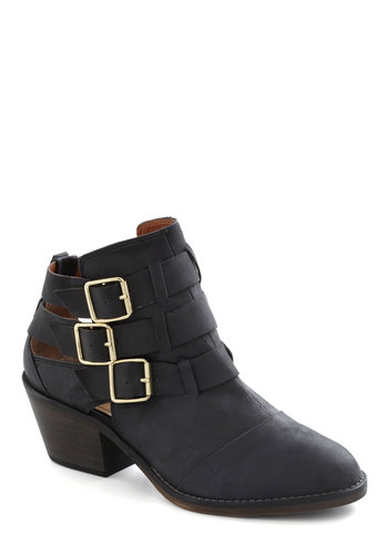 Contemporary Kick Bootie - Leather, Black, Solid, Buckles, Cutout, Casual, Urban, Winter