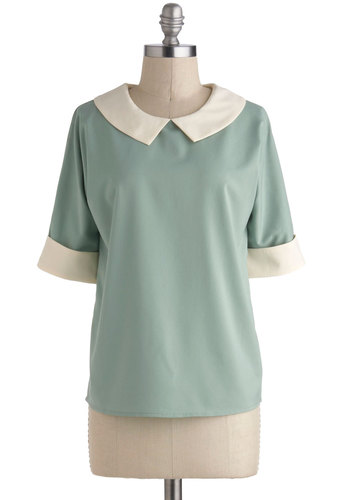 Make Mine Pistachio Top - Green, White, Short Sleeves, Collared, Mid-length, Peter Pan Collar, Work, Vintage Inspired