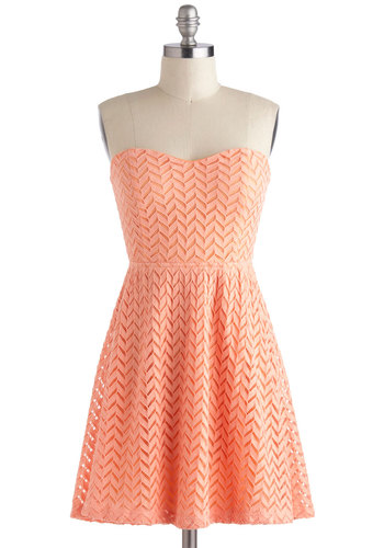 Little Bow Peach Dress - Short, Coral, Solid, Crochet, Cutout, A-line, Strapless, Sweetheart, Casual, Pastel, Chevron, Spring, Summer