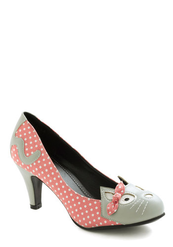 Meow's the Time Heel in Pink - Coral, Grey, Print with Animals, Bows, Mid, Polka Dots, Kawaii, Variation, Cats, Quirky, Pink, Party