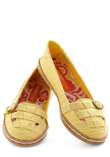 Until We Wheat Again Flat - Yellow, Solid, Buckles, Cutout, Flat, Woven, Casual