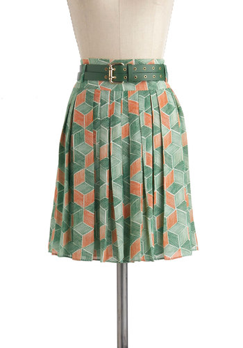 Outdoor Installation Skirt - Green, Orange, Print, Pleats, Work, Vintage Inspired, 60s, 70s, A-line, Short, Chevron