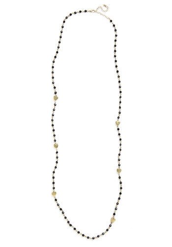 Bead True to Your Heart Necklace - Black, Solid, Beads, Gold