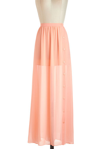 Outdoor Music Fête Skirt - Orange, Solid, Daytime Party, Pastel, Maxi, Sheer, Long, Casual, Beach/Resort, Summer, Basic