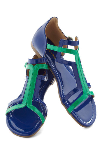 Patent on the Back Sandal - Green, Blue, Solid, Colorblocking, Flat, Beach/Resort, Summer, Strappy