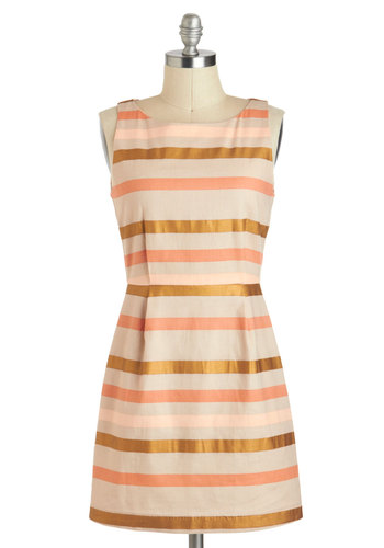 Desert Sunset Dress by BB Dakota - Pink, Stripes, Pleats, Casual, Vintage Inspired, Sheath / Shift, Cotton, Short, Cream, Bronze, Coral, Graduation, Summer