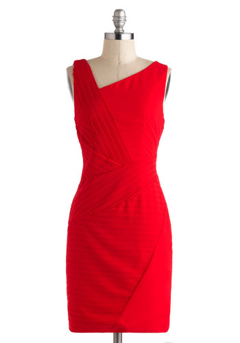 Let's Do Punch Dress - Red, Solid, Party, Shift, Sleeveless, Mid-length, Pinup, Vintage Inspired