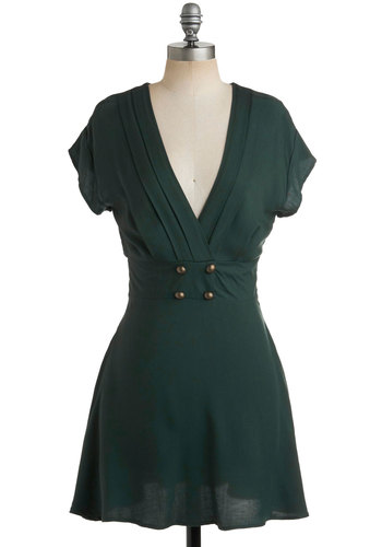 Four Square Dress in Forest - Green, Solid, Buttons, Pleats, A-line, Short Sleeves, Casual, 80s, Show On Featured Sale, Mid-length, Military, V Neck