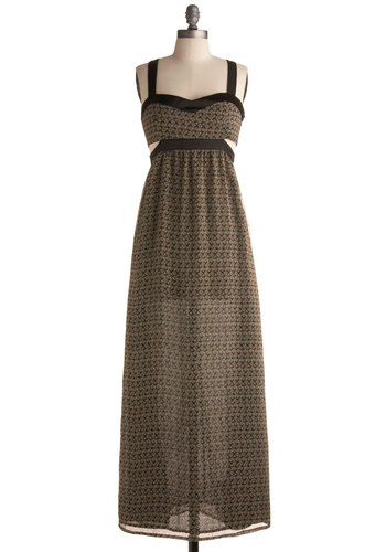 Style Moderne Dress - Cutout, Casual, Maxi, Long, Brown, Black, Print, Beach/Resort, Summer, Fall