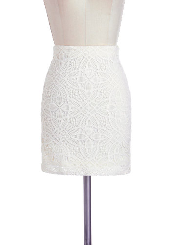 Intern of Honor Skirt by Jack by BB Dakota - Cream, Solid, Lace, Scallops, Party, Mini, Cotton, Short, Pastel