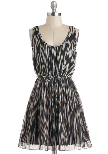 Picking Up Steam Dress by Jack by BB Dakota - Short, Black, Brown, Grey, Print, Belted, Party, A-line, Tank top (2 thick straps), Scoop