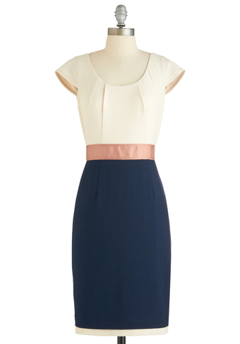 A Whole Neutral Outlook Dress - Mid-length, Blue, Pink, White, Work, Shift, Cap Sleeves, Pleats, Exclusives