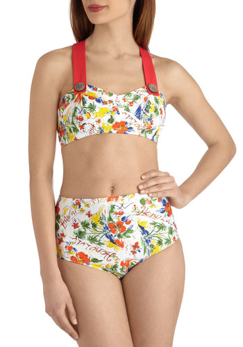Poolside Paradise Two Piece in Journals - White, Multi, Print, Buttons, Pinup, High Waist, Summer, Beach/Resort