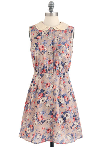 Tea to Go Dress - Mid-length, Purple, Pink, Floral, Buttons, Peter Pan Collar, Pockets, Shirt Dress, Sleeveless, Spring, Multi, Tan / Cream, Button Down, Collared, Summer