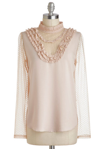 Fashionably Au Lait Top - Pink, Tan / Cream, Lace, French / Victorian, Steampunk, Long Sleeve, Sheer, Mid-length