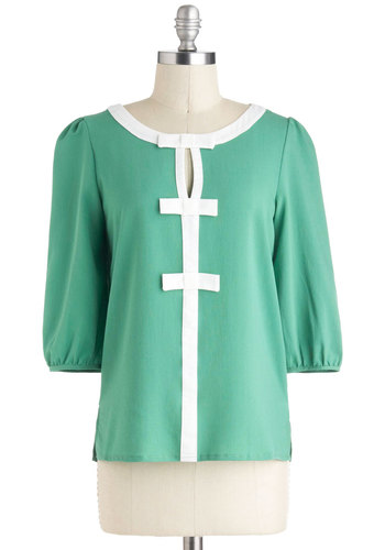 Ballerina Brunch Top - Green, White, Trim, 3/4 Sleeve, Mid-length, Work, Bows