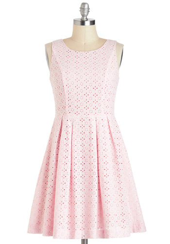 Princess of Posies Dress - Pink, Solid, Eyelet, Party, Vintage Inspired, A-line, Sleeveless, Spring, Cotton, Mid-length, Exposed zipper, Daytime Party, Graduation
