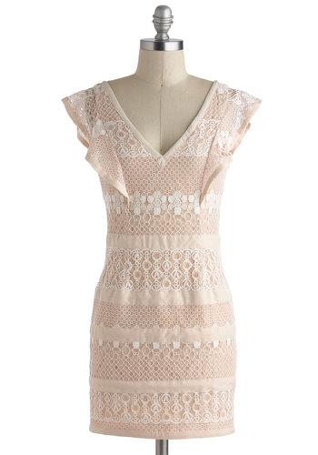 Maple Cream Confection Dress - Pink, White, Lace, Ruffles, Party, Cap Sleeves, Short, Solid, Sheath / Shift, V Neck