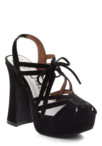 Reunion Special Heel by Jeffrey Campbell - Black, Solid, High, Chunky heel, Leather, Vintage Inspired, 90s, Platform