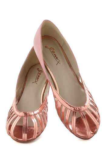 Like a Prosecco Wedge - Pink, Silver, Solid, Cutout, Low, Wedge, Pastel