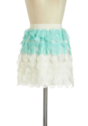 Bokeh Dots Skirt - Short, Multi, Blue, White, Party, Girls Night Out, Daytime Party, Mini, Pastel
