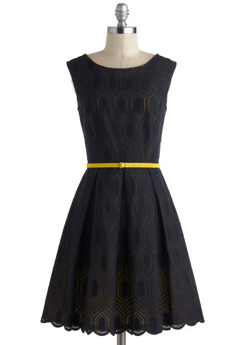 Hidden Gold Dress - Cotton, Mid-length, Blue, Yellow, Solid, Pleats, Scallops, Belted, Fit & Flare, Sleeveless, Boat, Party, Vintage Inspired, 30s, Luxe