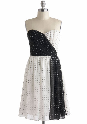 Beyond Black and White Dress - Black, White, Polka Dots, Prom, Party, Vintage Inspired, 50s, A-line, Strapless, Spring, Sweetheart, Mid-length, Wedding, Bridesmaid