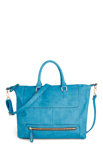 Bright as Day Bag - Blue, Solid, Exposed zipper, Work, Casual, Faux Leather