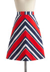 Party in Port Skirt - Mid-length, Multi, Red, Blue, White, Stripes, Beach/Resort, Nautical, Vintage Inspired, A-line, Chevron