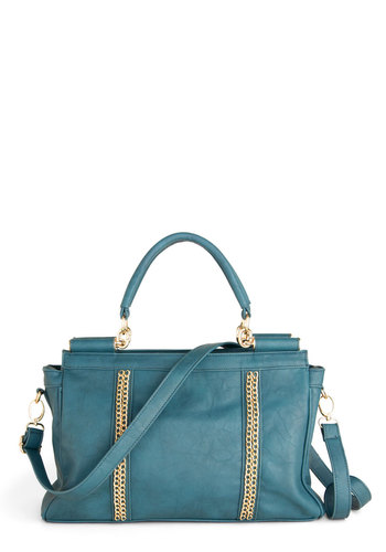 Chain of Commanding Bag - Solid, Chain, Blue, Gold, Faux Leather
