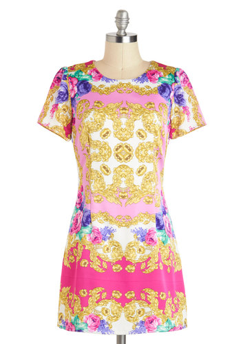 Baroque Your Heart Dress - Short, Pink, Multi, Floral, Print, Party, Shift, Short Sleeves, Exposed zipper, Girls Night Out
