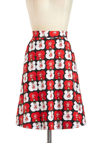 Bold Blossom Skirt - Mid-length, Multi, Red, Black, White, Floral, Daytime Party, Vintage Inspired, 50s, A-line, Pockets, Beach/Resort, Pinup