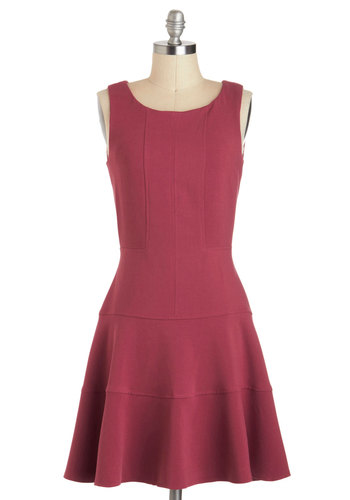 Panel Ready Dress - Mid-length, Red, Solid, Pleats, Casual, A-line, Tank top (2 thick straps), Exposed zipper
