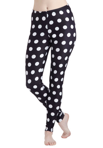 Fresh Take Leggings in Dots - Black, Polka Dots, Vintage Inspired, 80s, Skinny, Party, Variation, Travel, Black/White