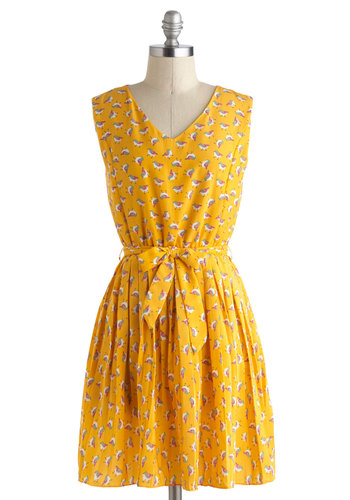 The Best Wing Dress - Print with Animals, Mid-length, Yellow, Multi, Belted, Casual, A-line, Sleeveless