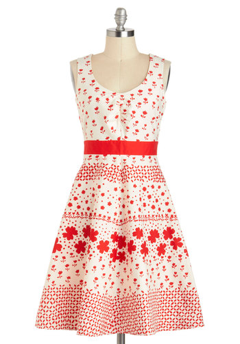 Stamp of My Style Dress - Cotton, Mid-length, Red, Floral, Ruching, Daytime Party, Fit & Flare, Tank top (2 thick straps), White, Scoop