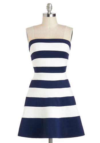 A Starboard is Born Dress - Short, Blue, White, Stripes, Party, Fit & Flare, Strapless, Nautical