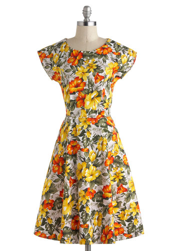 First Hibiscus Dress - Cotton, Long, Multi, Orange, Yellow, Green, Grey, Floral, Daytime Party, Fit & Flare, Cap Sleeves, Vintage Inspired, 50s