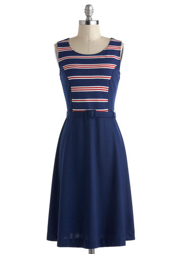 Both Tides Now Dress - A-line, Blue, Red, White, Stripes, Belted, Casual, Nautical, Sleeveless, Vintage Inspired