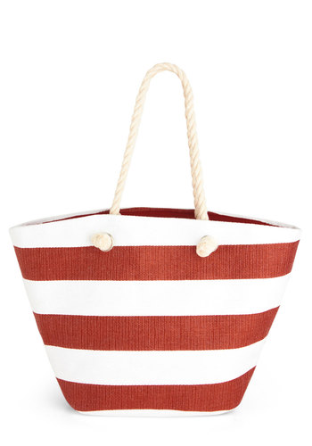 From Pier to Eternity Bag - Red, White, Tan / Cream, Stripes, Woven, Nautical, Beach/Resort, Summer, Travel