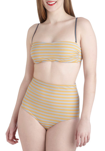 Caorle Beach Two Piece - Grey, Yellow, Stripes, Beach/Resort, Spaghetti Straps, Vintage Inspired, 50s, High Waist, International Designer, Summer