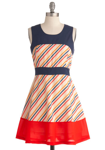 Candy Stand Dress - Mid-length, Red, Yellow, Blue, Stripes, A-line, Sleeveless, Casual