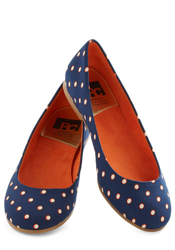 A Night to Remember Flat in Dots by BC Footwear - Blue, Orange, White, Polka Dots, Flat, Casual, Variation, Travel
