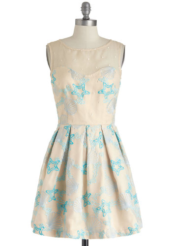 Seashell We Dance? Dress - International Designer, Blue, Print, Embroidery, Pleats, Daytime Party, Pastel, A-line, Sleeveless, Beach/Resort, Cream, Nautical, Chiffon, Sheer, Mid-length