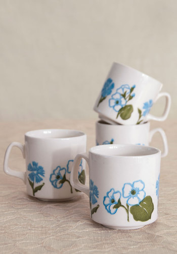 Vintage Flower Pressing Party Mug Set